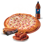 1 pizza mediana 1 ingrediente + 7 alitas + 10 palitroques + soda 1 lt.