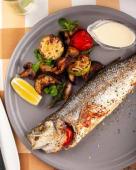 Сібас, смажений з овочами-гриль (350г)