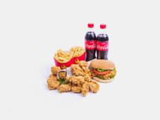 Сэндвич 1шт+бургер 1шт+12 наггетсов+напиток(0,5л) 2шт+2 фри+соус