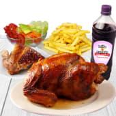 Pollo a la brasa + 1/4 + chicha de (1 lt.)