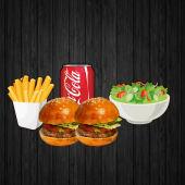 2 Бургера, картопля, салат і напій на вибір