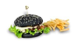 """""""Black"""" бургер с фри"""