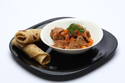 Chapati served with beef stew