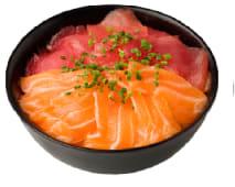 Chirashi de atún y salmón