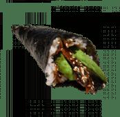 103. Temaki de anguila, aguacate, salsa de anguila y sésamo