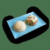 Salteado de verduras mixtas, tofu y soja