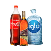 Ron flor de caña 7 años 750 ml + coca cola 1.5 lt + hielo iglu 1.5 kg