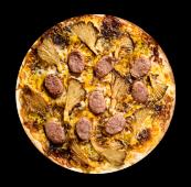 Pizza butifarra con gírgolas