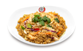 Quinoa salteada con huevo y verduras mix