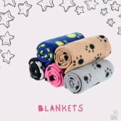 Soft paw print fleece blankets