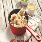 White Sauce Pasta with Pastrami باستا صوص الابيض بالبسطرمة
