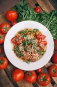 Паста з телятиною, томатами та руколою (300г)