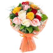 12 Rosas Variadas Tallo Medio