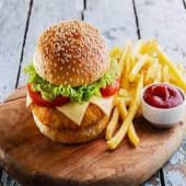 Chicken Cheese Burger served with chips or salad