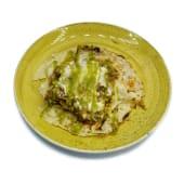 Crepe de champiñones con pesto y queso fundido