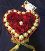 Box Cœur Roses Rouge +Chocolat