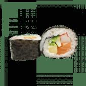 94. Futomaki de salmón, cangrejo, pepino y aguacate (8 uds)
