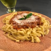 Fetuccini a la boloñesa vegetariana