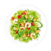 Салат Брізе з креветками та мідіями