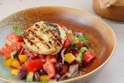 Greek salad, grilled halloumi