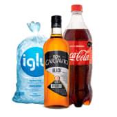 Cartavio Black  1 Lt + Coca Cola 1.5 Lt + Hielo 1.5 Kg