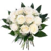 12 Rosas Blancas Tallo Medio