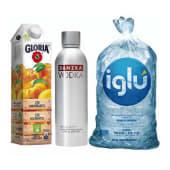 Vodka Danzka + Jugo Gloria 1 lt + Hielo 1.5 kg