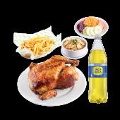 1 pollo + papas + arroz chaufa + ensalada + gaseosa 1.5 lt