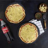 2 Pizzas Dobles Muzza + 1  Gaseosa (1.5 ml.)