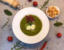 Крем-суп шпинатовий з беконом