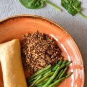 Crepe de Pescada e espinafres (s/ glúten) c/ Quinoa de lima