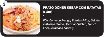 Prato Doner Kebap com Batatas