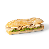 Panino de pollo, aguacate y brie (caliente)