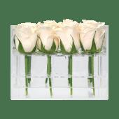 Rosas blancas con caja acrílica (16 uds)