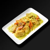 Saumon au curry vert et lait de coco