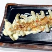 Caramelos de morcilla, piquillo y P. Ximénez con salsa mandorle foie