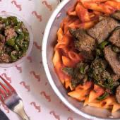 Red Sauce Pasta with Liver باستا بالصوص الاحمر والكبدة