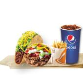 Burrito supreme + taco original + papas regulares + bebida (16 oz.)