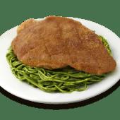 Tallarín verde con apanado de carne