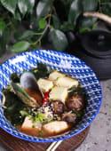 Місо суп з локшиною удон, сьомгою і новозеландською мідією (350г)