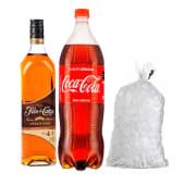 Flor De Caña 4 Años + Coca Cola 1 Lt + Hielo 1.5 Kg