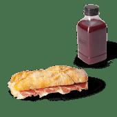 Menú panino de jamón ibérico + zumo (500 ml.)