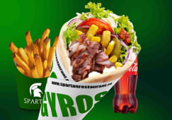 Meniu Gyros de puisor, cartofi, sos, Coca Cola - 500ml