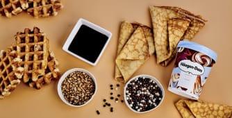 4 crepes/gofres + 1 Tarrina 1 sabor + 4 Topping