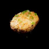 Cartof copt umplut cu smântână, ceapă verde și brânză