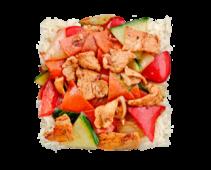 Orez gătit la aburi cu carne de vită și legume hot
