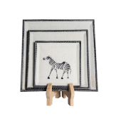 Soapstone Zebra Plate Set
