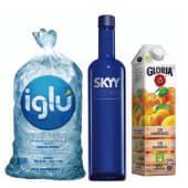 Vodka Skyy 750 ml + Jugo Gloria 1 lt + Hielo 1.5 kg