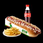 Combo hot dog - 1 hot dog, papa frita pequeña y gaseosa en botella