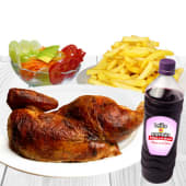 1/2 pollo a la brasa + chicha de (1 lt.)
